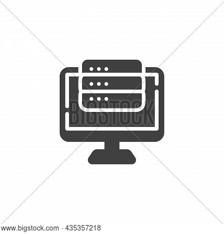 Computer Server Vector Icon. Filled Flat Sign For Mobile Concept And Web Design. Computer Monitor An
