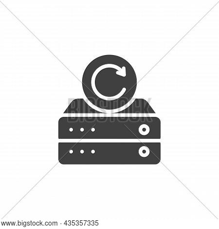 Database Backup Vector Icon. Filled Flat Sign For Mobile Concept And Web Design. Data Backup Arrow G