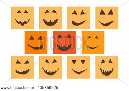 Halloween Pumpkin Face Jack-o-lantern On Social Media Post Template.