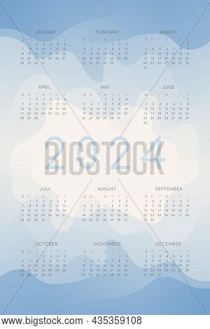 2024 Calendar With Blue Gradient Fluid Wave Shapes. Vertical Annual Template For Print And Digital.