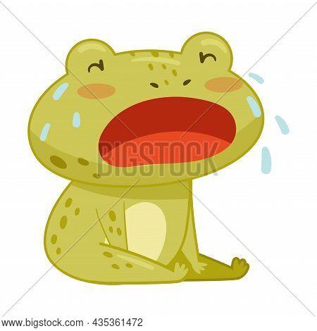 Cute Sad Frog Sitting And Crying. Green Funny Amphibian Toad Character Cartoon Vector Illustration