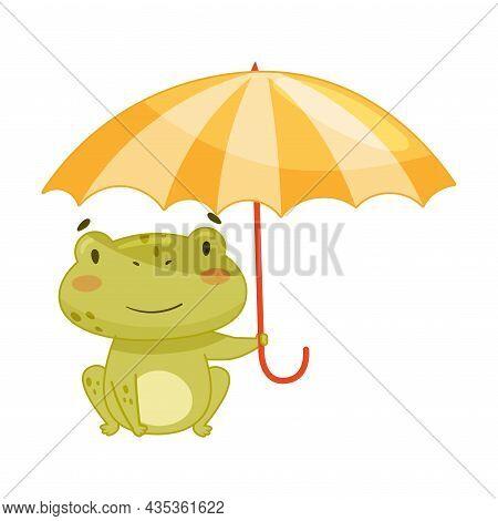 Cute Frog Walking With Umbrella. Green Funny Amphibian Toad Character Cartoon Vector Illustration