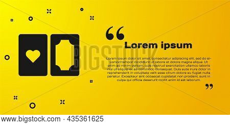 Black Deck Of Playing Cards Icon Isolated On Yellow Background. Casino Gambling. Vector