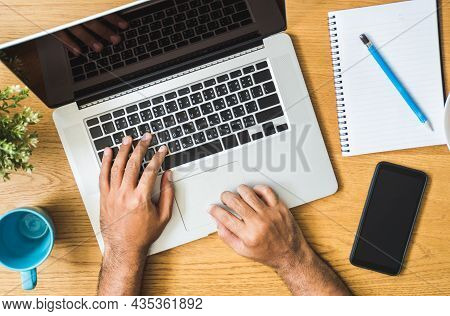 Close Up Male Hands Using Laptop While Work From Home Social Distancing Concept. Focusing Finger Tex