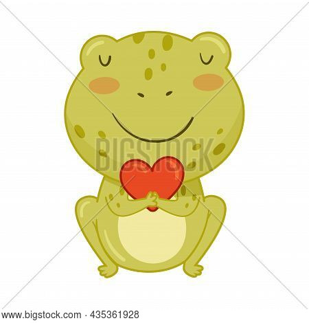 Cute Frog With Red Bow Tie. Green Funny Amphibian Toad Character Cartoon Vector Illustration