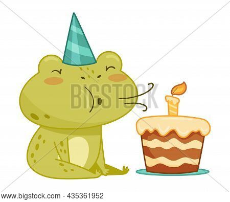 Cute Frog In Party Hat Blowing Candle On Birthday Cake. Green Funny Amphibian Toad Character Cartoon