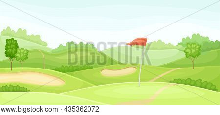 Countryside Golf Course With Hole, Sand Bunker And Red Flag. Play Tournament, Competition Invitation