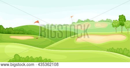 Countryside Golf Course With Holes, Red Flags And Sand Bunker. Play Tournament, Competition Invitati