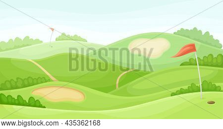 Countryside Golf Course With Sand Traps And Red Flag. Play Tournament, Competition Invitation Card,