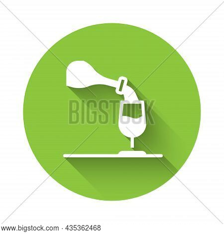 White Wine Tasting, Degustation Icon Isolated With Long Shadow Background. Sommelier. Smells Of Wine