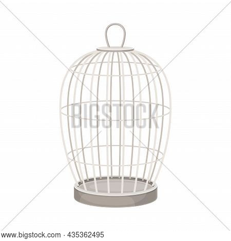 Metal Wire Cage For Birds Vector Illustration On White Background