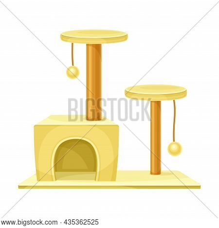 Cat Tree House With Scratching Post And Hanging Ball. Pet Animals Supply Vector Illustration