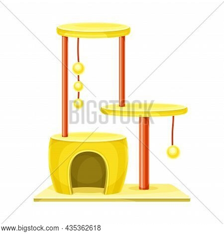 Comfortable House Gor Cat With Scratching Post And Hanging Ball. Pet Animals Supply Vector Illustrat