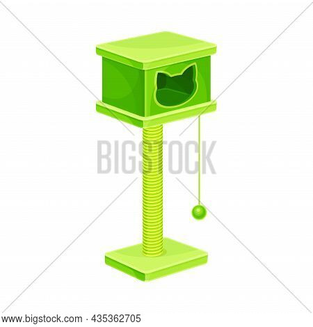 Cat Tree House With Scratching Post And Hanging Ball. Comfortable Pet Animal Shelter Vector Illustra