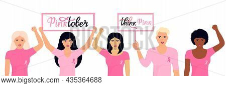 National Breast Cancer Awareness Month. A Group Of Multiethnic Women With A Pink Ribbons