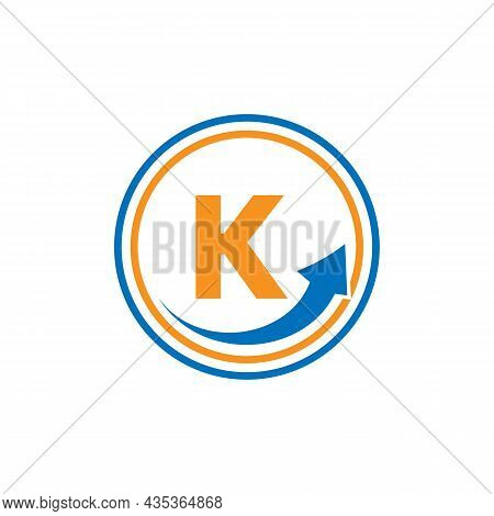Finance Logo With Growth Arrow On K Letter. Letter K Marketing And Financial Business Logo Template