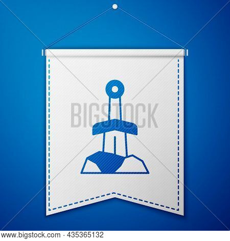 Blue Sword In The Stone Icon Isolated On Blue Background. Excalibur The Sword In The Stone From The