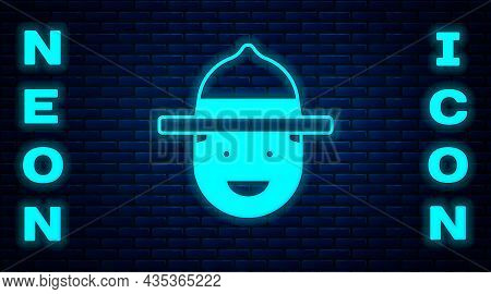 Glowing Neon Canadian Ranger Hat Uniform Icon Isolated On Brick Wall Background. Vector
