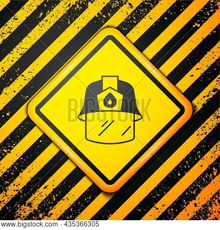 Black Firefighter Helmet Or Fireman Hat Icon Isolated On Yellow Background. Warning Sign. Vector