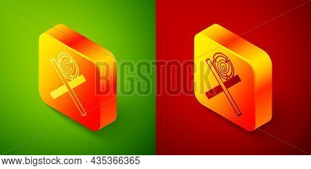 Isometric Wooden Logs On A Stand Icon Isolated On Green And Red Background. Stack Of Firewood. Squar