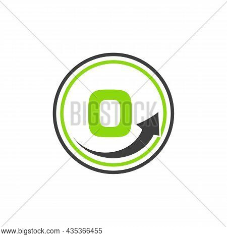 Finance Logo With Growth Arrow On O Letter. Letter O Marketing And Financial Business Logo Template