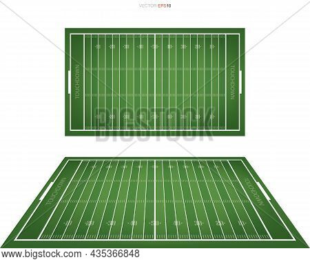 American Football Field With Line Pattern Area For Background. Perspective Views Of Football Field.