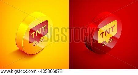 Isometric Detonate Dynamite Bomb Stick Icon Isolated On Orange And Red Background. Time Bomb - Explo