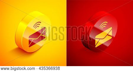 Isometric Mail And E-mail Icon Isolated On Orange And Red Background. Envelope Symbol E-mail. Email