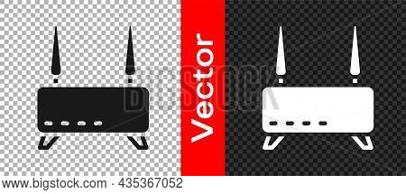 Black Router And Wi-fi Signal Icon Isolated On Transparent Background. Wireless Ethernet Modem Route