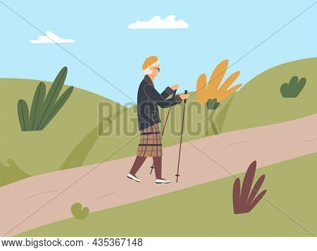 Elderly Woman Is Engaged In Nordic Walking With Sticks On Path In The Fall Park. Old Woman Walk On F