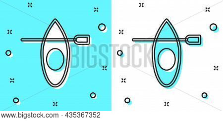 Black Line Kayak And Paddle Icon Isolated On Green And White Background. Kayak And Canoe For Fishing