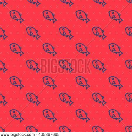 Blue Line Tropical Fish Icon Isolated Seamless Pattern On Red Background. Exotic Fish. Vector
