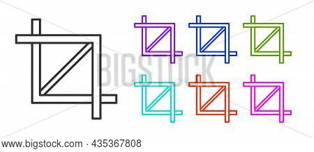 Black Line Picture Crop Photo Icon Isolated On White Background. Set Icons Colorful. Vector