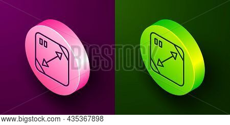 Isometric Line Diagonal Measuring Icon Isolated On Purple And Green Background. Circle Button. Vecto
