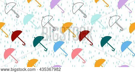 Seamless Pattern With Umbrella And Rain. Colourful Umbrellas  In The Rain. Background With Bright Um
