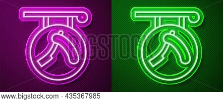 Glowing Neon Line Barbershop With Razor Icon Isolated On Purple And Green Background. Hairdresser Lo