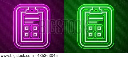 Glowing Neon Line Exam Sheet With Check Mark Icon Isolated On Purple And Green Background. Test Pape