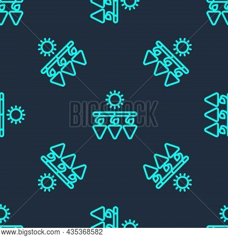 Green Line Drying Grapes Icon Isolated Seamless Pattern On Blue Background. Dried Grapes. Vector