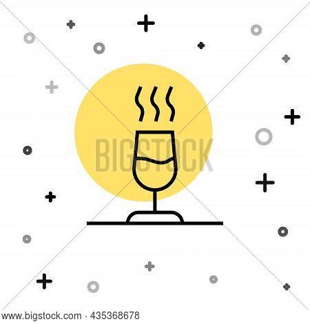 Black Line Wine Tasting, Degustation Icon Isolated On White Background. Sommelier. Smells Of Wine. R