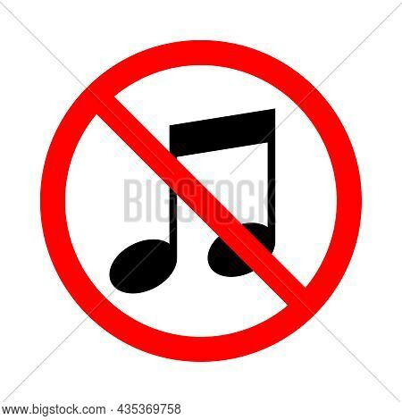 No Music. Music Prohibited Icon. Crossed Out Musical Note Sign In The Circle. Symbol Isolated On Whi