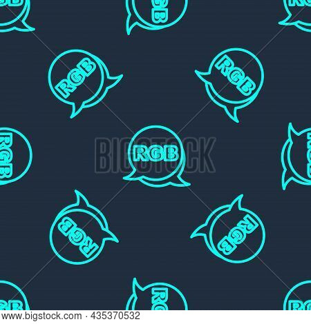 Green Line Speech Bubble With Rgb And Cmyk Color Mixing Icon Isolated Seamless Pattern On Blue Backg