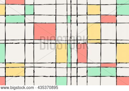 Grange Ink Brush Lines Banner. Editable Poster Of Geometriacal Grid. Colorful Squares In Pastel Colo