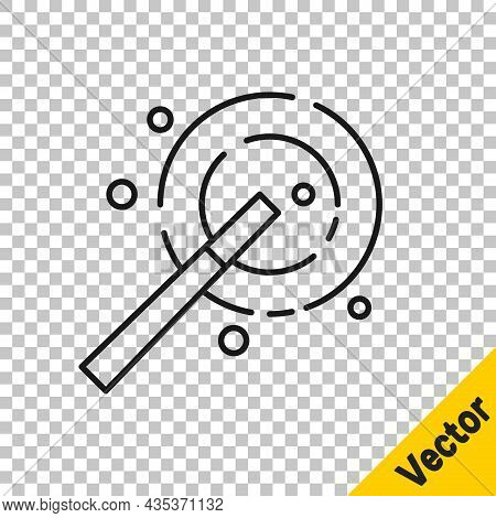 Black Line Magic Wand Icon Isolated On Transparent Background. Star Shape Magic Accessory. Magical P