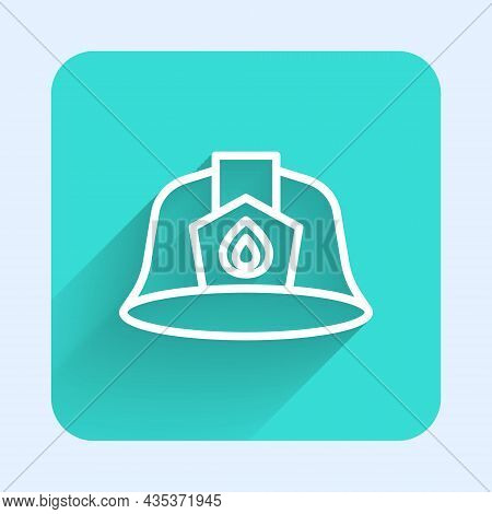White Line Firefighter Helmet Or Fireman Hat Icon Isolated With Long Shadow Background. Green Square
