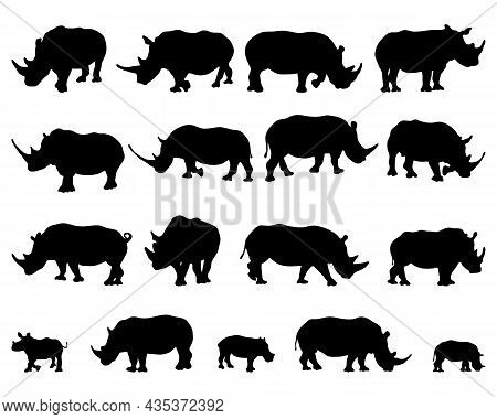 Black Silhouettes Of Rhinos On A White Background