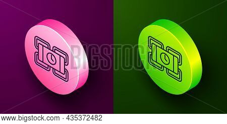 Isometric Line Detonate Dynamite Bomb Stick And Timer Clock Icon Isolated On Purple And Green Backgr