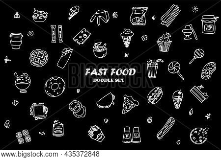 Doodle Food Set Of Fast-food Products. Hand-drawn Sweets, Desserts, Snacks, Popcorn, American Food A