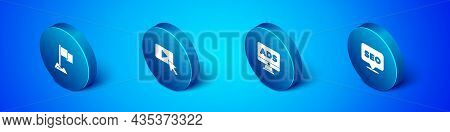 Set Isometric Location Marker, Advertising, Seo Optimization And Icon. Vector