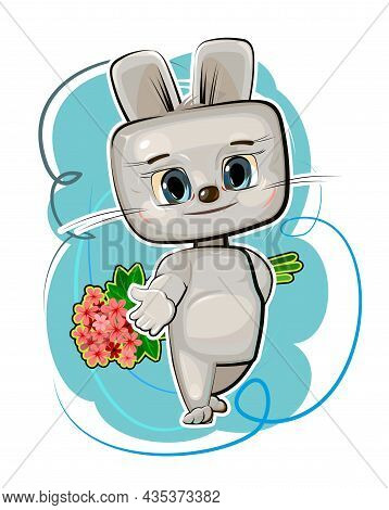 Cute Kid Hare Stretches Out His Hand Suggest Friendship. He Wants To Give A Bouquet Of Flowers. Funn