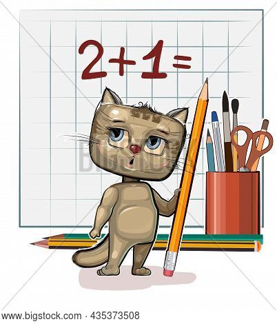 Cute Kitten Baby Is Trying To Count. Studying Numbers And Counting. Funny Animal Kid. Stationery And